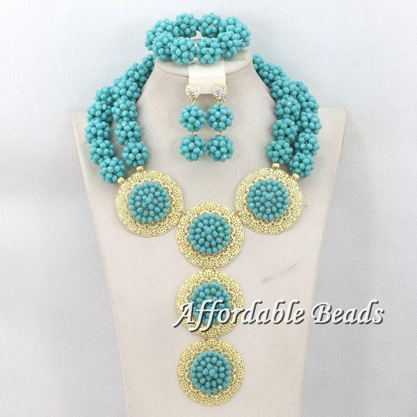 Incroyable nouveau nigérian mariage perles ensemble de bijoux mariée cristal boules collier ensemble Unique perles conception livraison gratuite BN194