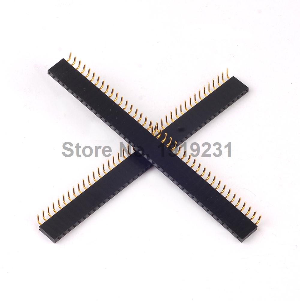 4PCS <font><b>40</b></font> <font><b>Pin</b></font> <font><b>2.54mm</b></font> Right Angle <font><b>Female</b></font> <font><b>Single</b></font> <font><b>Row</b></font> <font><b>Pin</b></font> IC Flat <font><b>Header</b></font> Socket image