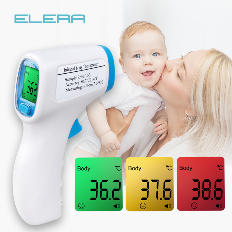 ELERA Thermometer Digital Body Temperature Fever Measurement Forehead Non-Contact Infrared LCD IR Thermometer Baby & Adult cofoe forehead infrared thermometer body temperature fever digital measure meter ir non contact portable tool for baby adult