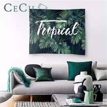 Background Cloth Ins Tapestry Wall Hanging Nordic Bedroom Living Room Decoration Curtain Photo of Banana Leaf Green Plant