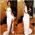 Sexy Side Dividir Branco Frisado Ouro Sereia Vestidos de Noite Alta Neck Trem Da Varredura Longos Vestidos de Baile 2017 Vestidos de Fiesta Longo