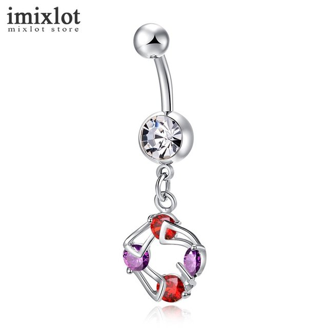 Imixlot Mixed Color Rhinestone Belly Button Rings Bar Surgical Piercing  Sexy Body Jewelry for Women CZ Navel Piercing Wholesale 91d9448e3577