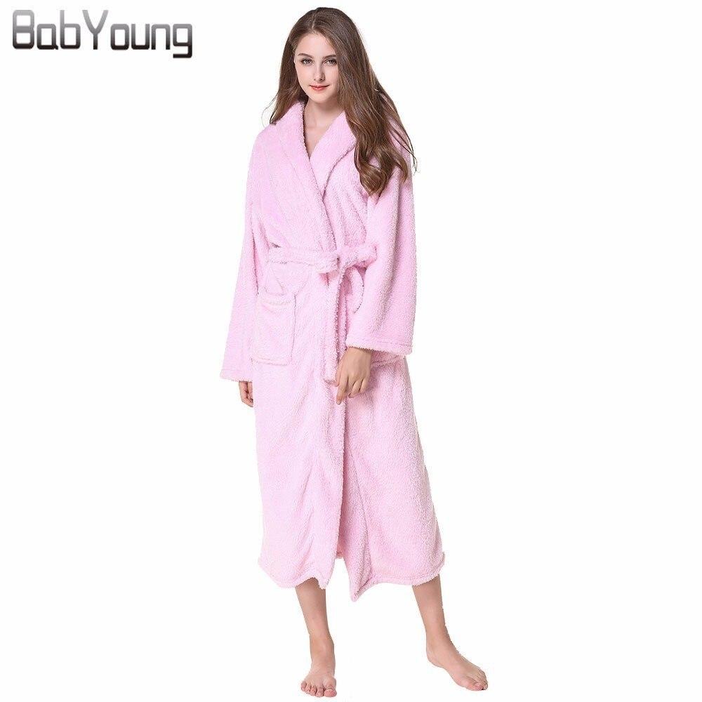 df27214b83 BabYoung 2018 Winter Pajamas Women Robes Plaid Flannel Long Sleeve Bath Robe  Hoodies Homewear Warm Female ...