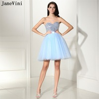 JaneVini 2018 Небесно Голубой тюль Короткие платья невесты с блестками Милая большой бант сзади линии Простой Homecoming платье
