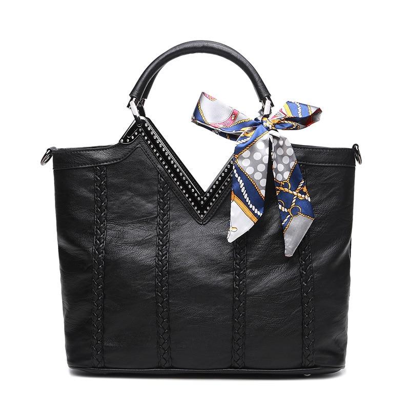Large Capacity Tote Bag Elegant Silk Scarf Diamond Women Handbag Knitting Leather Shoulder Crossbody Bag Bolsa Mensageiro
