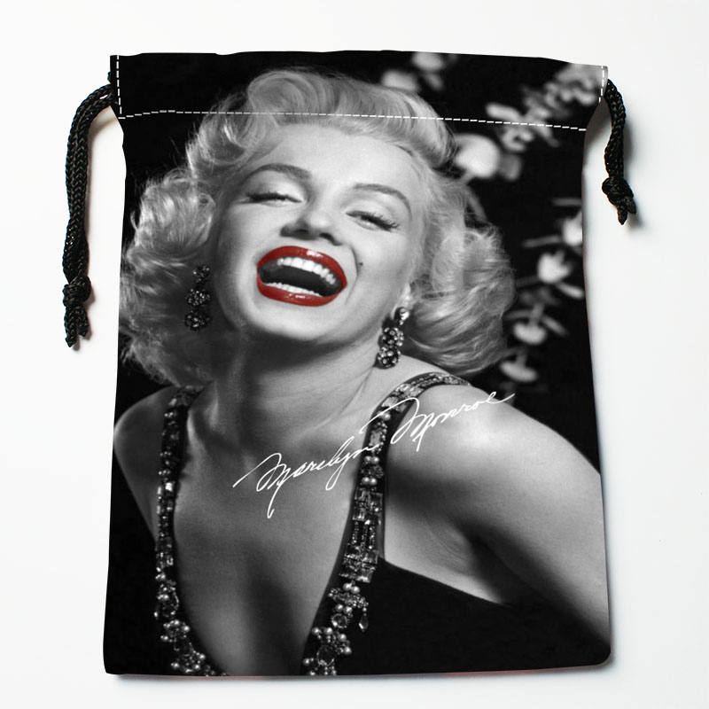 High Quality Custom Marilyn Monroe Printing Storage Bag Drawstring Bag Gift Satin Bags 27x35cm Compression Type Bags