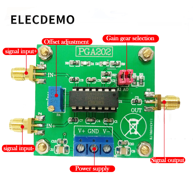 Image 2 - PGA202 digital instrumentation amplifier digital programmable gain data acquisition automatic adjustment circuit-in Demo Board Accessories from Computer & Office