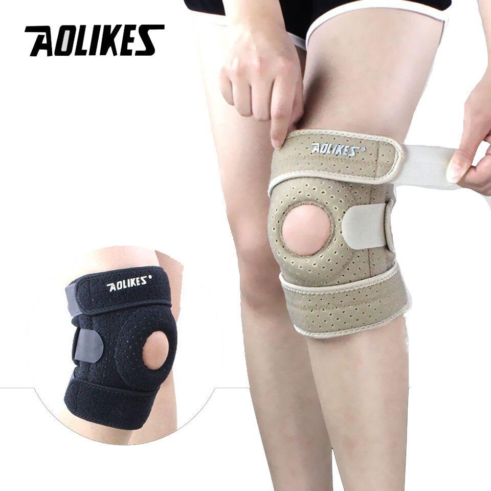 Formação Elastic Suporte Knee Brace AOLIKES 1 PCS Esportes Ajustáveis Almofadas Patela Do Joelho Buraco Joelheira Joelheira Ajustável Segurança