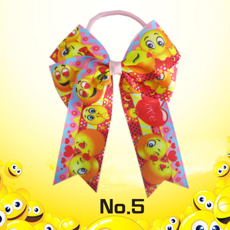 50 BLESSING Happy Girl Hair Accessories smiling face Long Tail 4.5 Cheer Leader Bow Elastic