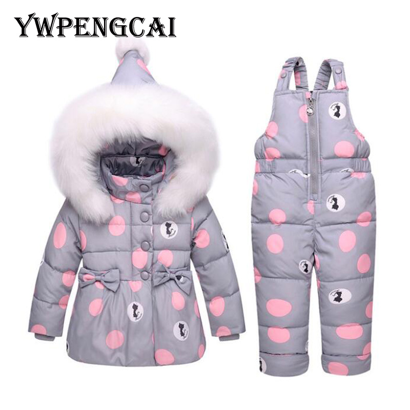 Big Polka Dot White Duck Down Winter Overalls For Girls Down Jacket and Pants Baby Snowsuit
