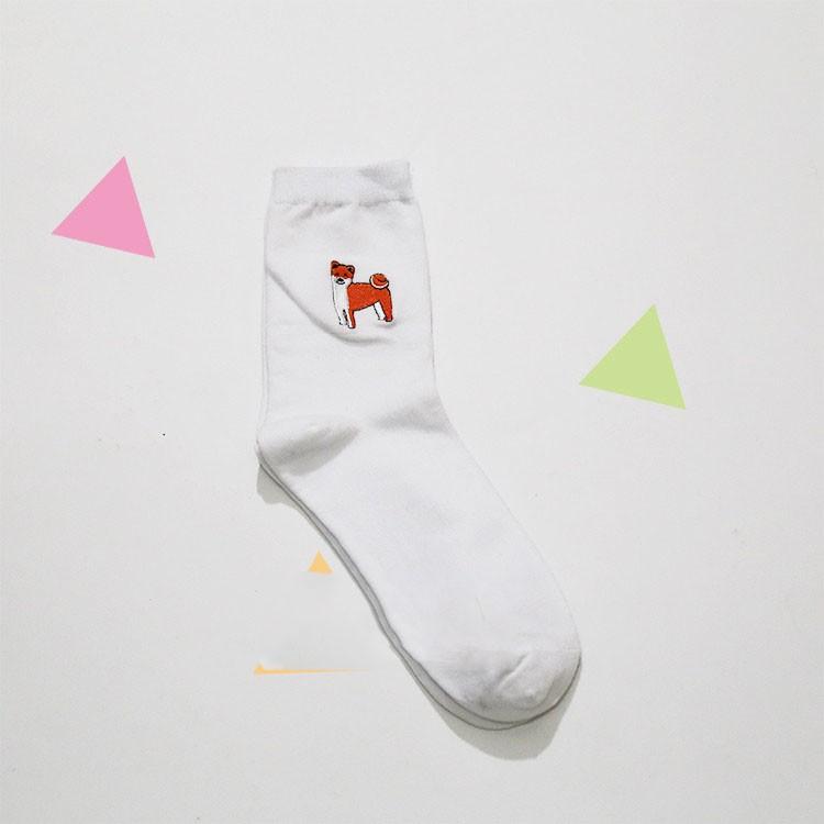 cute animal husky embroidery women cotton white socks lovely dog Jacquard female pure color socks funny kawaii pug meias soks 7