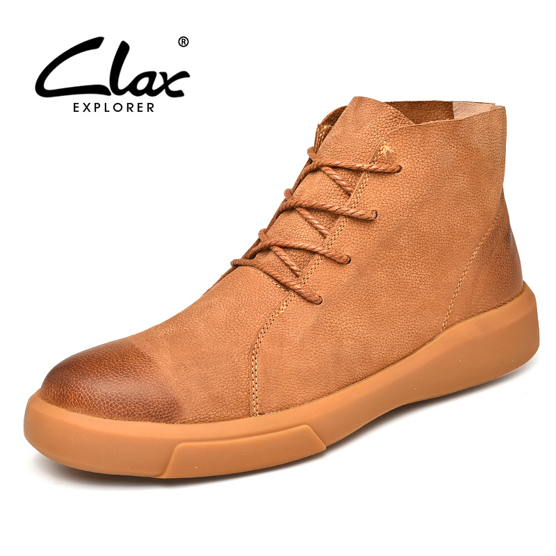 CLAX Mens Boots Fashion Casual Leather Shoe High Top Spring Autumn Genuine Leather Martin boot Male chaussure homme Big Size clax men leather boots genuine leather spring autumn casual shoe male safety shoes work boot soft chaussure homme walking shoe