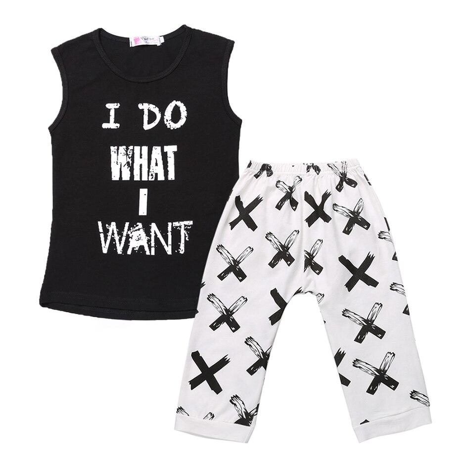 21d88acb8ad55 Noir et Blanc Enfant Enfants Garçon Sans Manches T-shirt Top Pantalon Deux  Pièces Tenue Décontractée Lettre Imprimer Tops + Pantalon Vêtements  ensembles