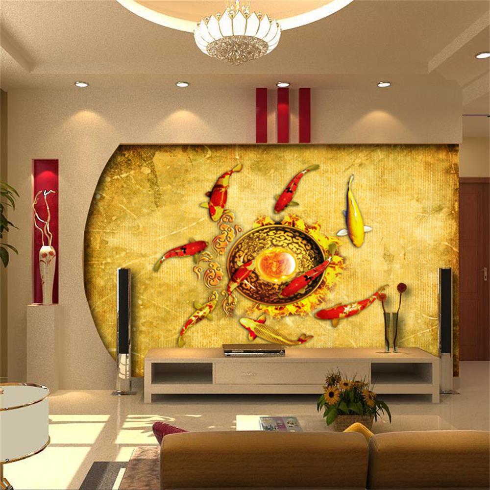 ①3d room wallpaper custom HD photo murals/Nine carp map/TV/sofa ...