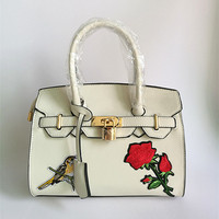 Luxury Brand Women Handbags Leather Casual Mobile Rose And Bird Embroidery Platinum Bag Shoulder Diagonal Package
