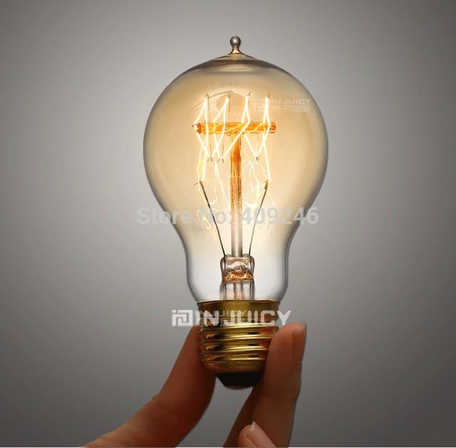 A19 E27 Loft Edison Carbon Filament 40 Watt Vintage Marconi Antique Light Incandescent Bulbs For Bar