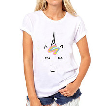 LUSLOS  Unicorn Face with Smile Print Women Cotton Summer T Shirt Lady Slim White Causal Super Soft O Neck Girl TeeTops
