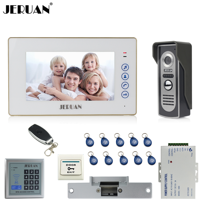 JERUAN 7`` Video Door phone Intercom System kit 1 Touch Key Monitor 700TVL IR Camera RFID Access Control Electric Strike lock jeruan home 7 video door phone intercom system kit 1 white monitor metal 700tvl ir pinhole camera rfid access control in stock