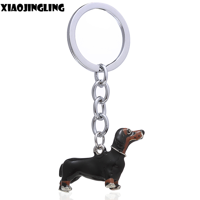 XIAOJINGLING Top Quality 3D Dog Keychain Car Key Chain Ring Black Enamel Alloy A