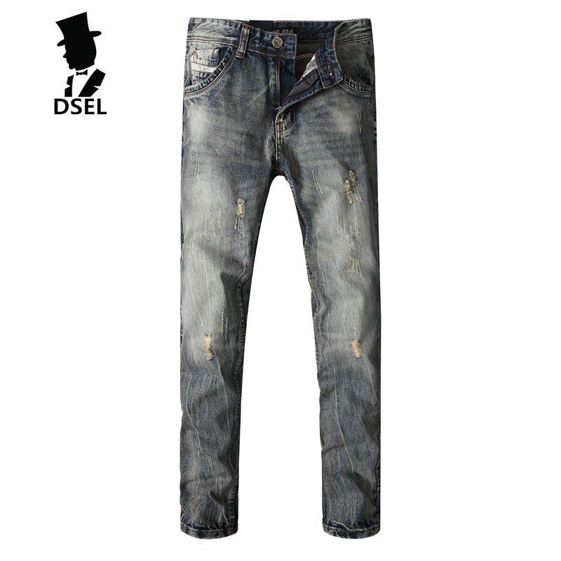 Hot Sale Mens Jeans Ripped Denim Trousers Slim Jeans Men Full Size 29-40 Pants New Famous Brand Hole Jeans With Logo E708 2017 fashion patch jeans men slim straight denim jeans ripped trousers new famous brand biker jeans logo mens zipper jeans 604