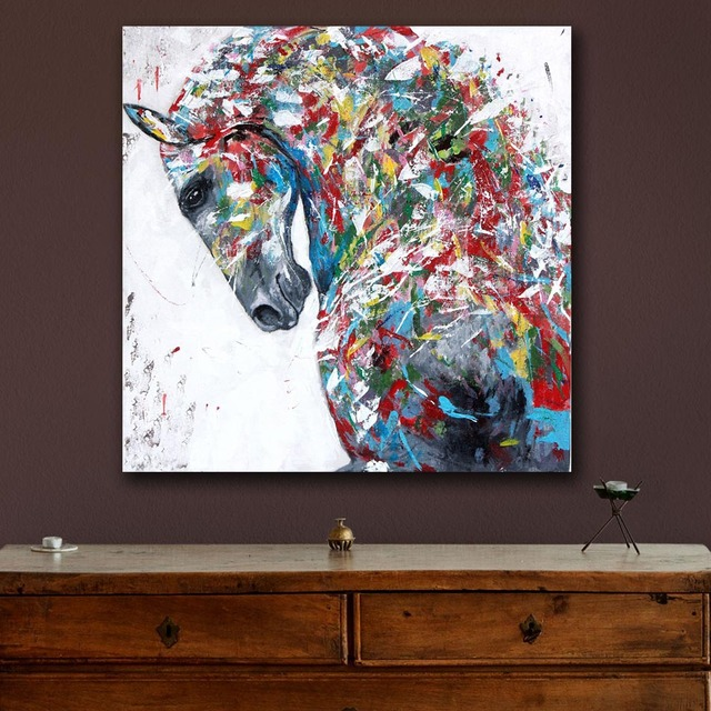 Beautiful Oil Painting Modern Multicolored Horse Painting Wall Decor Painted Wall Art  Canvas Printed Living Room