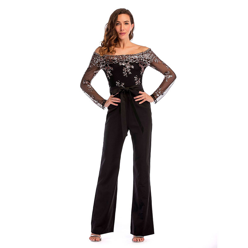 Plus Size Jumpsuits For Women 2019 Silver Sequin Jumpsuits Long Sleeve Sexy Mesh Glitter Bodysuit Black Overalls Female Clothing