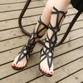 Nova moda sandálias mulheres chinelos mulheres sandálias gladiador couro genuíno joelho mulheres sandálias Sapato Feminino