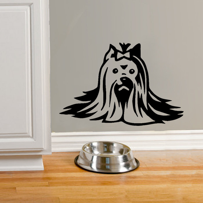Free Shipping Yorkie Wall Decal Sticker Yorkshire Terrier Dog Beauty Special Designed Cute Wall Decal Mural Bedroom Decor WM161