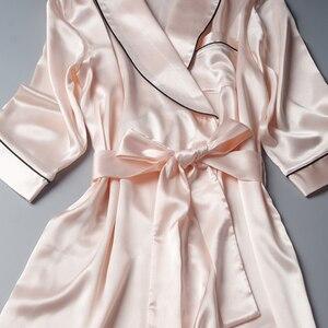 Image 5 - Bata de boda de satén de seda para dama de honor, Kimono, bata de baño grande, R202