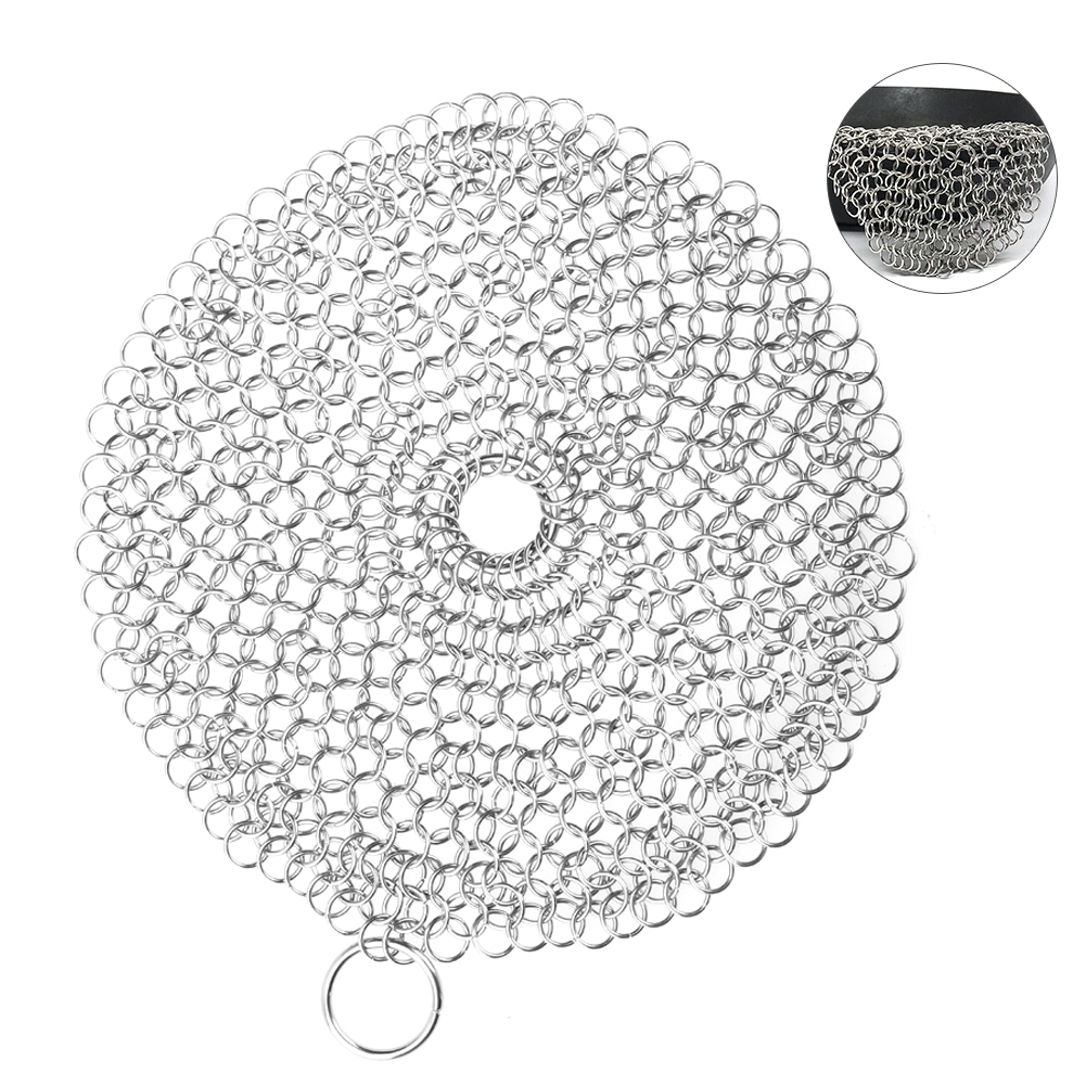 Uarter Stainless Steel Chainmail Scrubber Cast Iron Cleaner Pot Cleaner Heavy-duty Kitchen Utensil for Kitchen