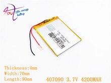 407090 3,7 V 4200 MAH Li Polymer Batterie Für Tablet PC Irbis TZ56 TZ49 3G TZ709 TZ707 7043XD 407292 U25GT