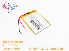 407090 3.7 V 4200 MAH Li פולימר סוללה עבור Tablet PC Irbis TZ56 TZ49 3G TZ709 TZ707 7043XD 407292 U25GT