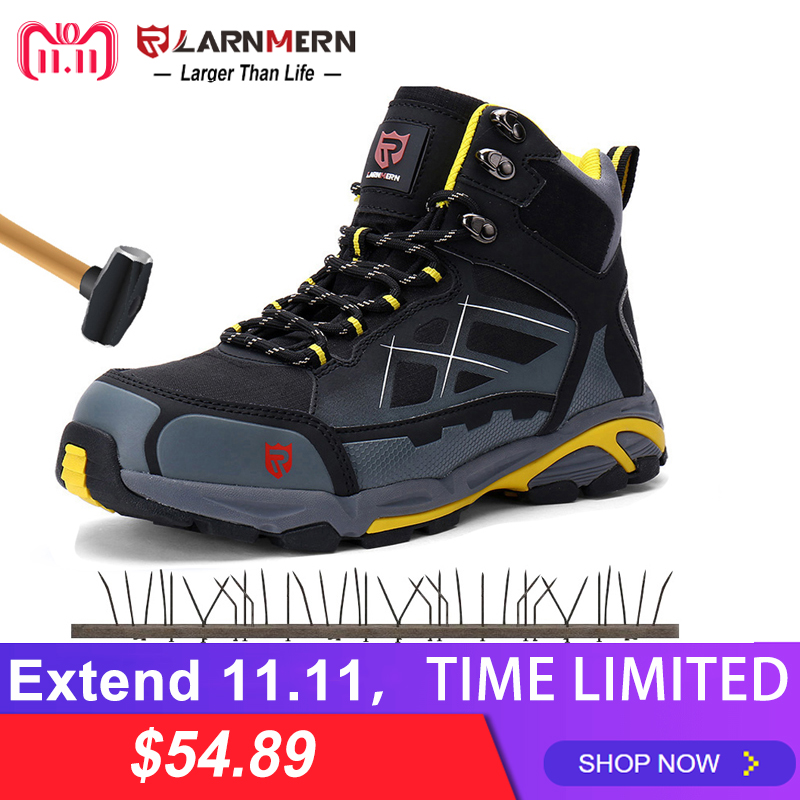 LARNMERN Mens Work Boots Steel Toe Safety Shoes S1P Outdoor Safety Sneakers SRC Non slip Anti static Puncture Proof
