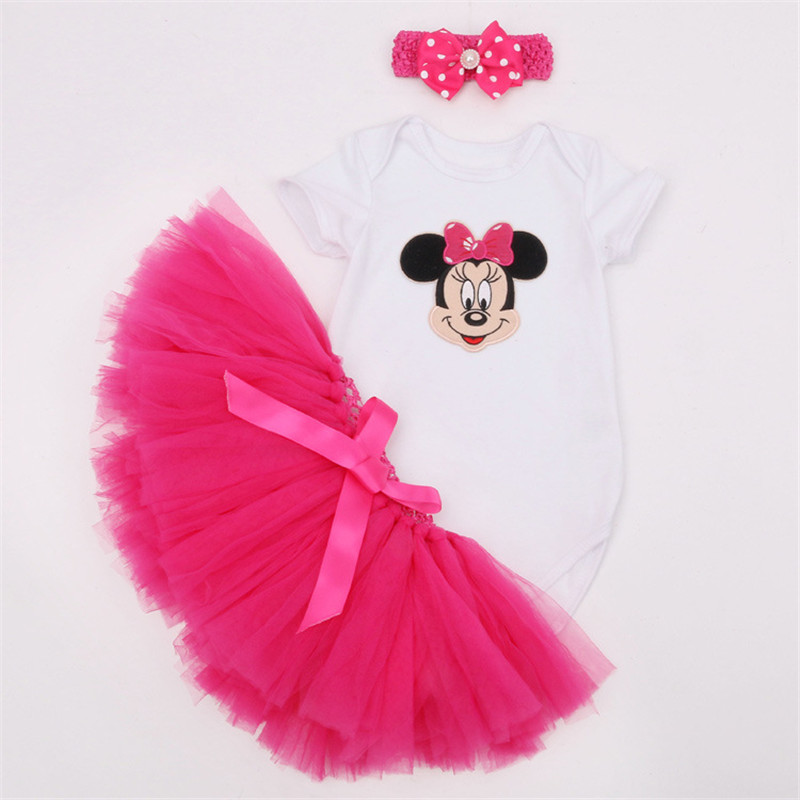 baby girl clothes newborn clothing Short Sleeve heart Minnie crown Romper +Tutu Dress + Headband 3pcs Summer bebes Clothes Sets baby girl infant 3pcs clothing sets tutu romper dress jumpersuit one or two yrs old bebe party birthday suit costumes vestidos
