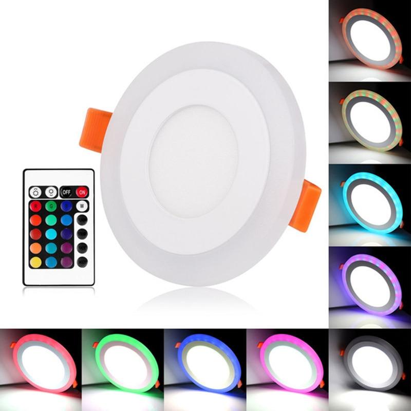 Luminária led redonda para painel, 6w-24w, 3 modelos, cor dupla, rgb e branco/teto quente embutido com controle remoto