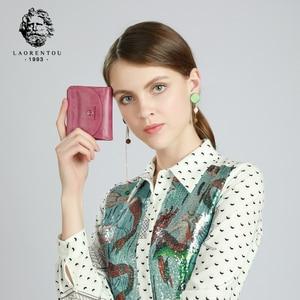 Image 3 - LAORENTOU Brand Women Short Wallets Genuine Leather Standard Wallets Fashion Zipper Purse Lady Coin Pocket Card Holder for Woman