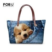 FORUDESIGNS Newest Women Handbags Cute Pet Dog Denim Printing Fashion Casual Shoulder Bags For Girls Large