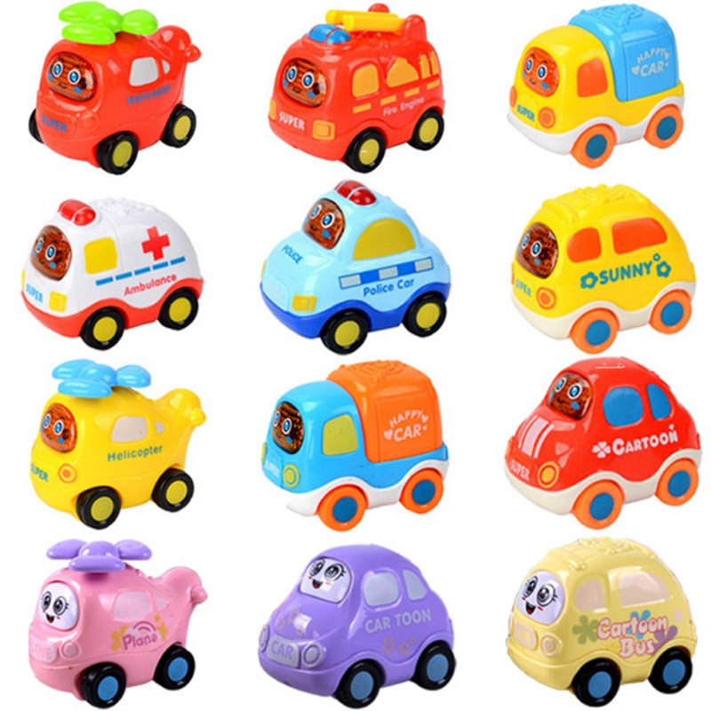Children's Mini Pull Back Car Toys Cartoon Puzzle Baby Racing Simulation Car Truck Ambulance Bus Truck Various Kinds Toy Cars