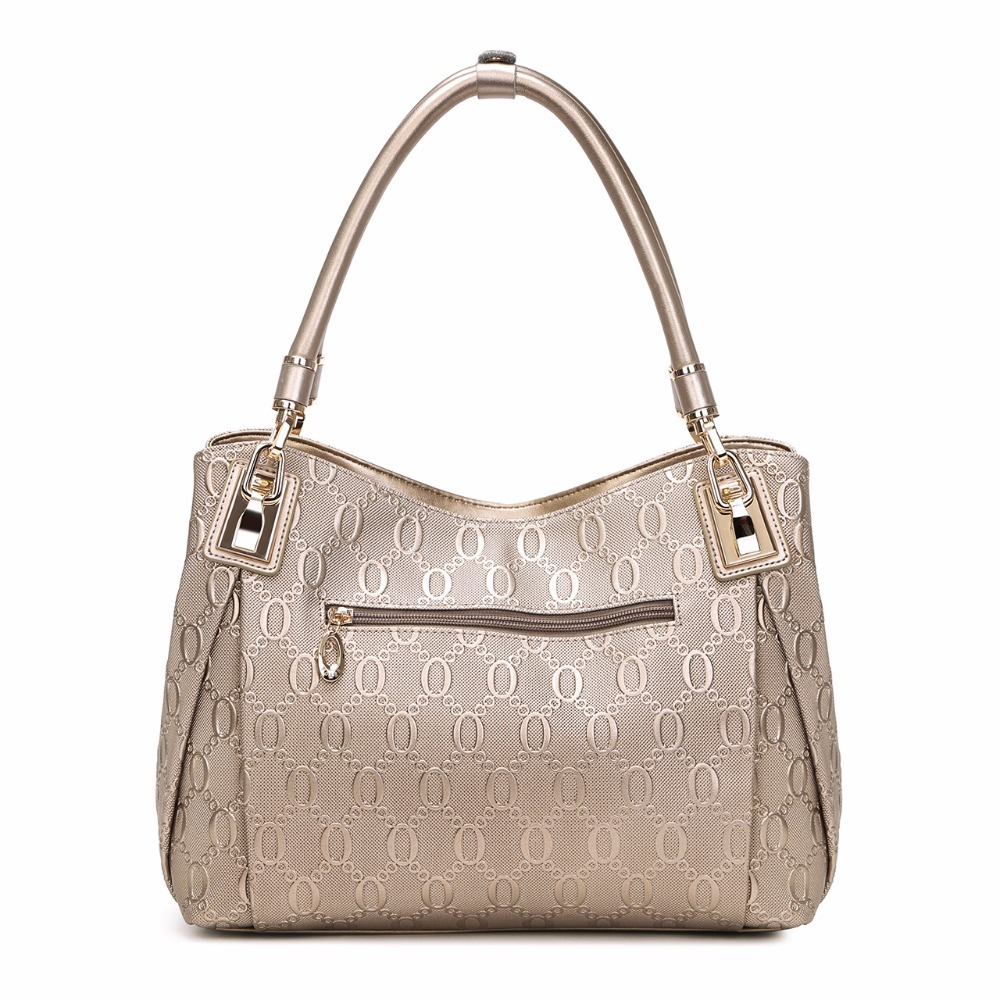 Brand Gold Women Cow Genuine Leather Shoulder Bag Fashion Luxury Handbags High Quality Bags Designer Female Handbags Tote