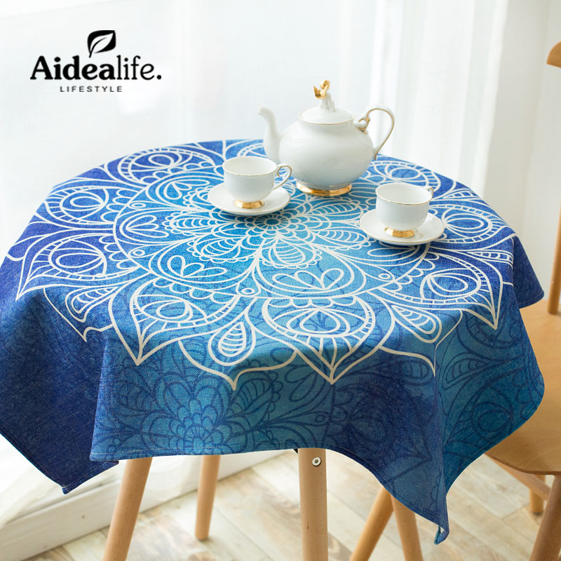 High Quality Textile Products Waterproof Anti oil rosette blue coffee table cloths for home party table cover round