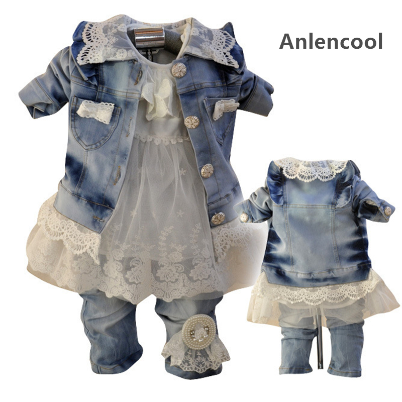 ФОТО Anlencool Free shipping Hot spring new Korean children's clothing for girls cowboy suit baby girl cowboy suit baby clothing