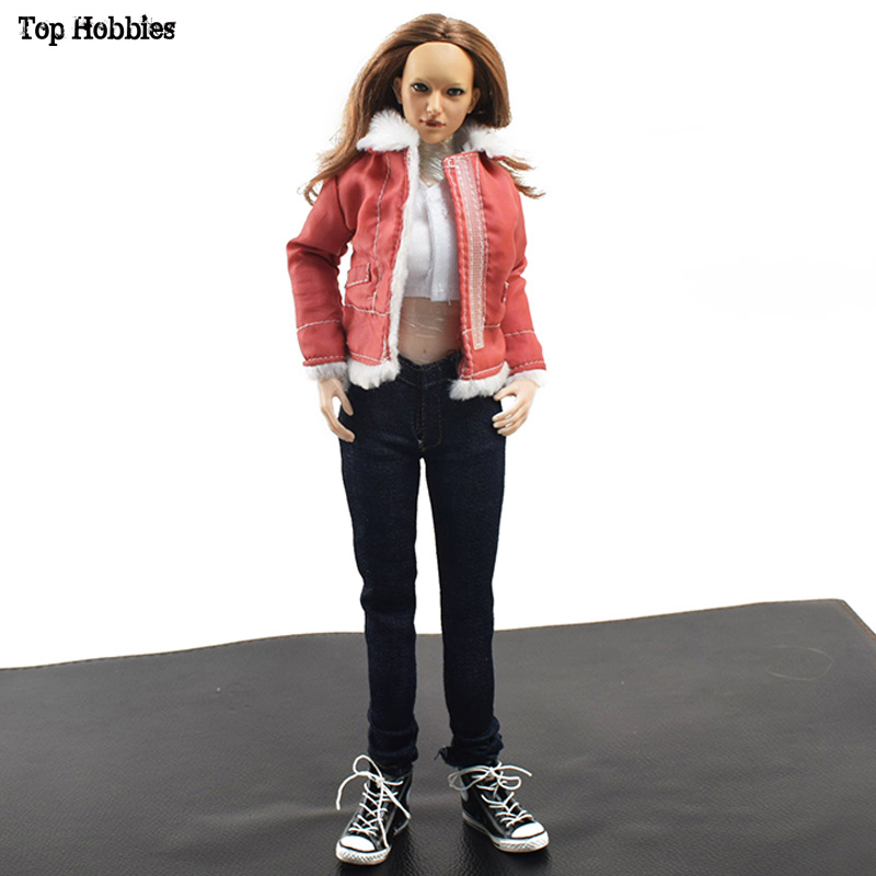 1/6 Scale Sexy Female/Women Jacket+Jeans & Shoes Clothes Suit Fit 12 HT Phicen JODOLL Action Figure VS015 B Red Doll Toys 1 6 scale figure doll clothes for 12 action figure doll accessories female sexy dress not include doll and other accessories