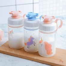 300 мл прозрачная стеклянная детская бутылка для воды милые бутылки для напитков с животными летний сок лимон молоко напиток чашка PP винтовая крышка