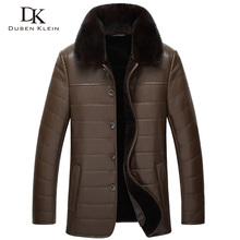 Dusen Klein Wool leather Jacket men Genuine sheepskin mink fur collar Business Style coat Black/Brown 14J8889