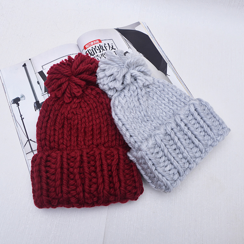 Coarse Wool Solid Knit Hat for Women Girls Men Boy Bonnet Knitted Hats Female Spring Autumn Winter Black Caps Beanies Cap Gorro fine three dimensional five star embroidery hat for women girls men boys knitted hats female autumn winter beanies skullies caps