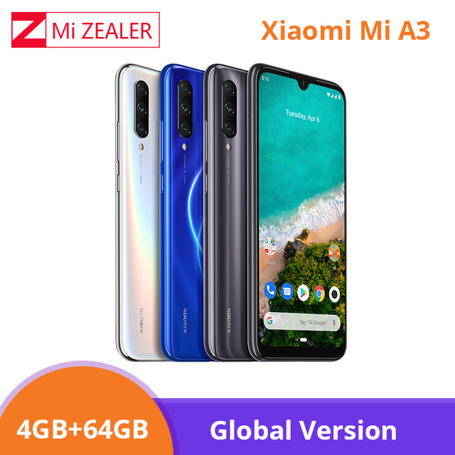 "Global Version Xiao Mi Mi A3 Mi A3 4GB 64GB สมาร์ทโฟน 4030mAh 6.088 ""Snapdragon 665 Octa core หน้าจอ AMOLED 48MP กล้อง Xio Mi"