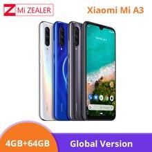 """Глобальная версия Xiaomi mi A3 mi A3 4 Гб 64 Гб Смартфон 4030 мАч 6,088 """"Восьмиядерный процессор Snapdragon 665 AMOLED экран Камера 48 МП Xio mi"""
