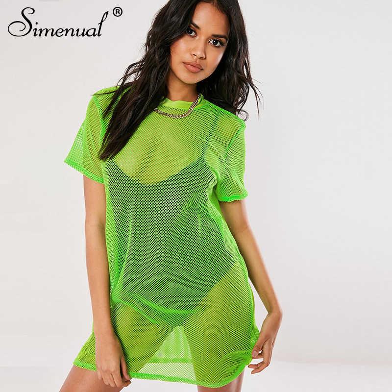 Simenual, неоновые цвета, ажурные платья больших размеров, женское летнее платье с коротким рукавом, Сетчатое повседневное прозрачное модное платье