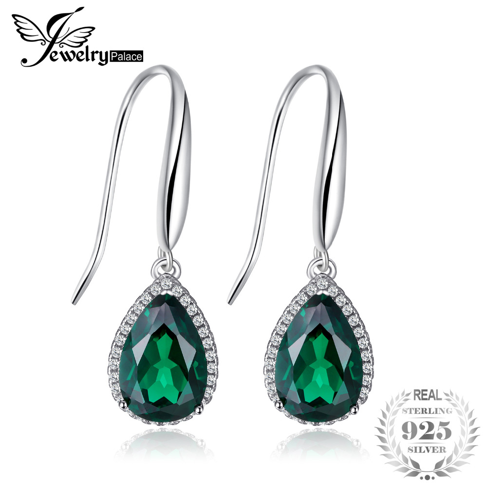JewelryPalace 8.5ct Created Emerald Drop Earrings 925 Sterling Silver Retro Vintage Fine Jewelry Nice Gift For Women/Wife цена