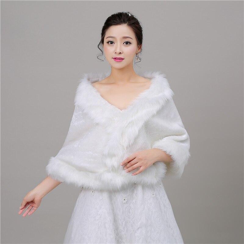 100% Photos réelles blanc fausse fourrure étoles de mariage Wrap hiver boléro veste accessoires de mariée Cape Cape Cape en Stock